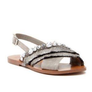NIB Vince Camuto Ampella Embellished Fringe Sandal